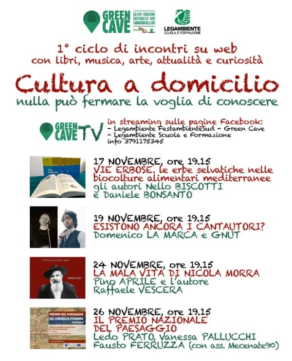"""La cultura servita a domicilio"", a Monte la Green Cave è anche in streaming TV"